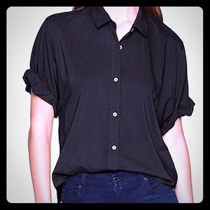 Black short sleeve button up blouse
